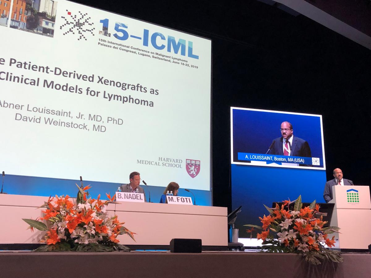 Abner talking at the 15th International Conference on Malignant Lymphoma in Switzerland